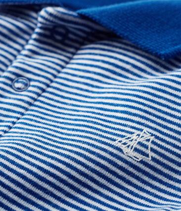 Baby-Polo-Body für Jungen, mit Milleraies-Streifenmuster. blau Limoges / weiss Marshmallow