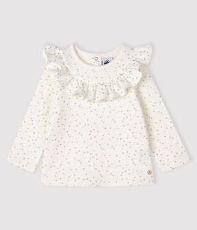 Langärmelige Baby-Bluse für Mädchen weiss Marshmallow / grau Argent