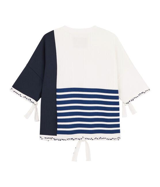 Streifenshirt für Damen Christoph Rumpf x Petit Bateau weiss Marshmallow / blau Smoking