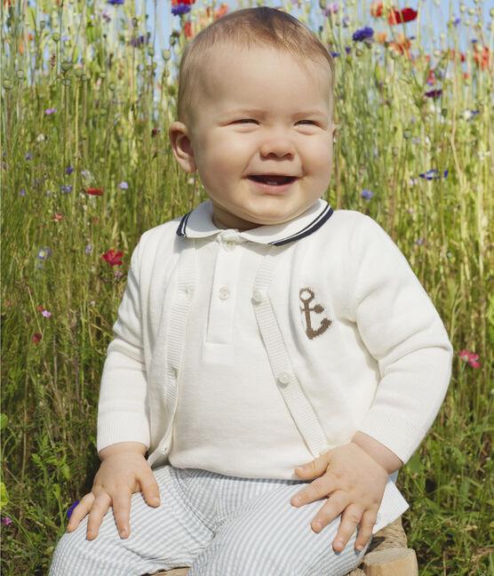 Baby-Hose in Seersucker für Jungen blau Acier / weiss Marshmallow