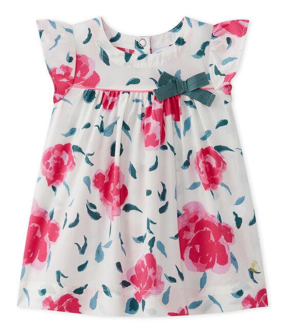 Bedrucktes Baby-Mädchen-Kleid mit Schmetterlingsärmeln weiss Marshmallow / weiss Multico