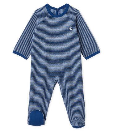 Baby-Strampler aus angerautem, extra warmem Bouclé-Frottier für Jungen blau Major / grau Subway
