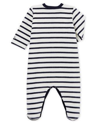 Baby-Strampler aus Samt weiss Marshmallow / blau Smoking