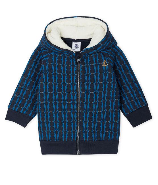 Baby-Kapuzensweatshirt aus Molton für Jungen, gemustert und mit Sherpa-Futter blau Smoking / weiss Multico Cn