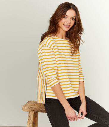 Grafisches Streifenshirt für Damen beige Coquille / gelb Boudor