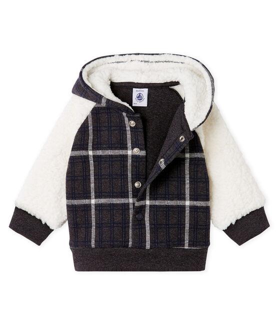 Kariertes Baby-Strick-Kapuzensweatshirt für Jungen mit Sherpa in Schaffelloptik. schwarz City / weiss Multico