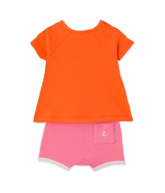 Set aus Baby-Mädchen-Shorts und T-Shirt orange Brazilian / rosa Petal