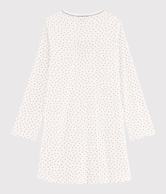 Rippstrick-Nachthemd mit Mini-Herzchen für Mädchen weiss Marshmallow / blau Medieval