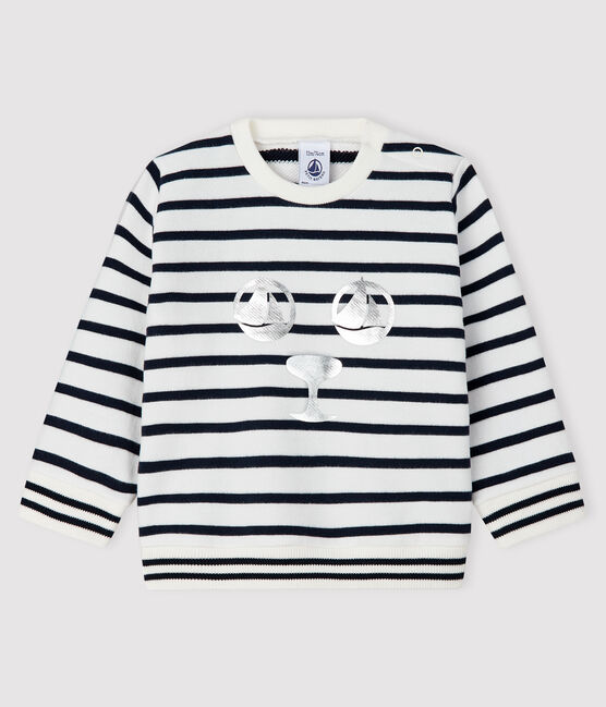 Baby-Sweatshirt aus Molton für Mädchen weiss Marshmallow / blau Smoking