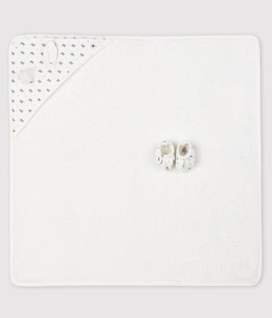Box mit Badetuch und Babyschuhen aus Frottee und Rippstrick weiss Marshmallow / grau Gris