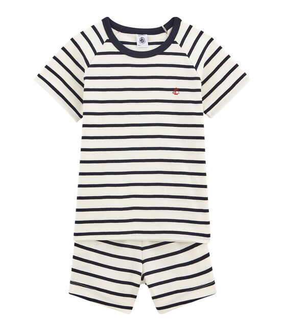 Rippstrick-Kurzpyjama für kleine Jungen weiss Marshmallow / blau Smoking