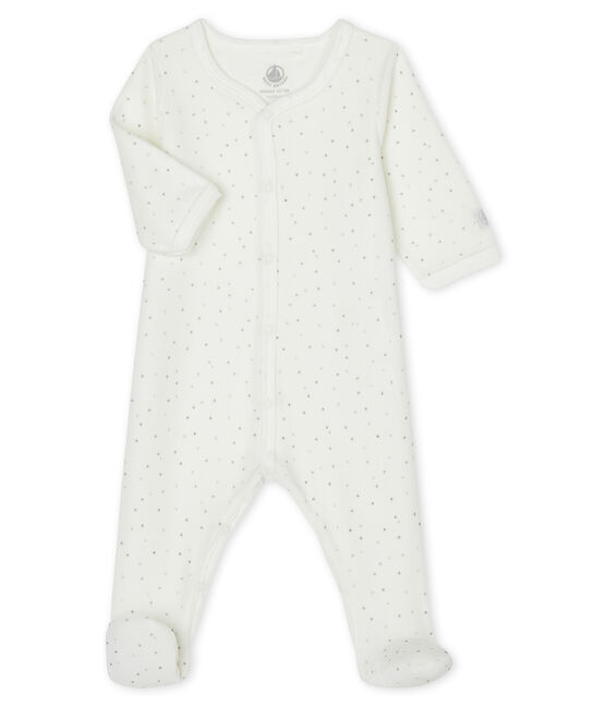 Weißer Baby-Strampler mit Sternen-Print aus Samt weiss Marshmallow / weiss Multico