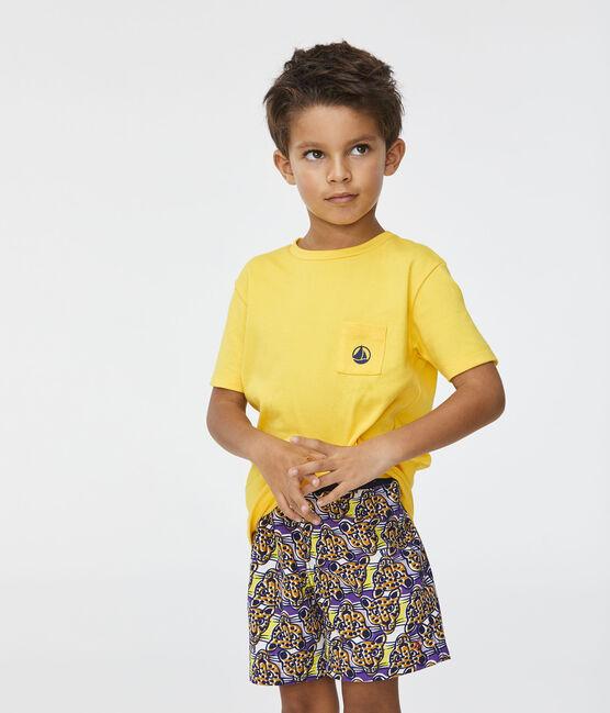Bedruckte Strandshorts Kinder Jungen weiss Marshmallow / weiss Multico