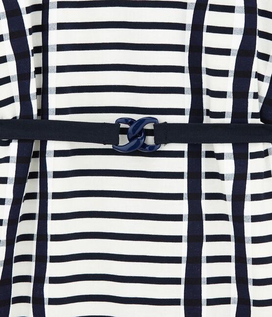 Kimono-kleid weiss Marshmallow / blau Smoking