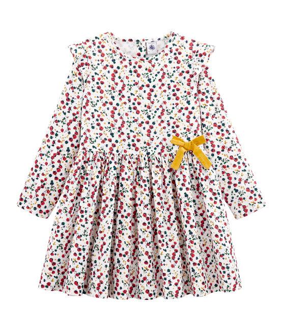 Gemustertes Kleid Mädchen weiss Marshmallow / weiss Multico