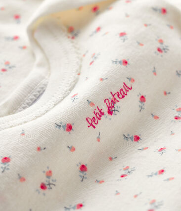 Kurzärmeliger Baby-Body für Mädchen weiss Marshmallow / weiss Multico