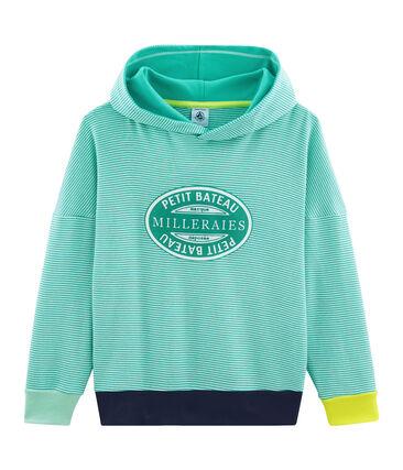 Kapuzen-Sweatshirt aus Rippstrick für Kinder grün Esperanza / weiss Marshmallow