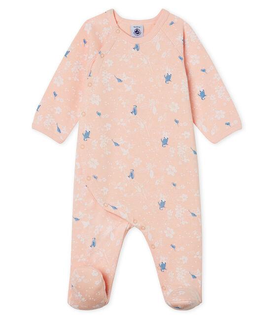 Baby-Strampler aus Molton für Mädchen rosa Minois / weiss Multico