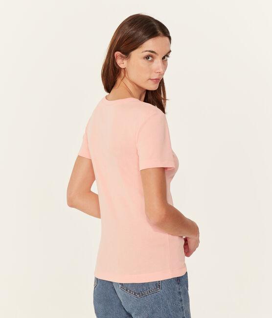 Kurzarm-t-shirt rundhalsausschnitt damen rosa Rosako