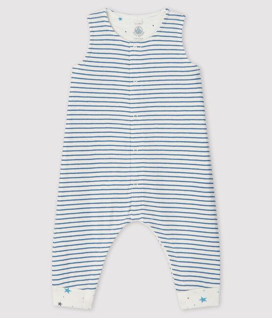 Lange gestreifte Baby-Latzhose für Jungen aus Doppeljersey weiss Marshmallow / grau Tempete