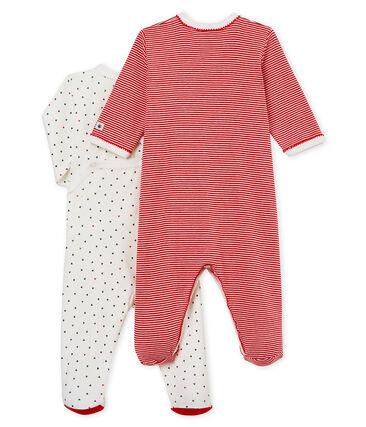 Duo Baby-Strampler in Rippstrick für Mädchen