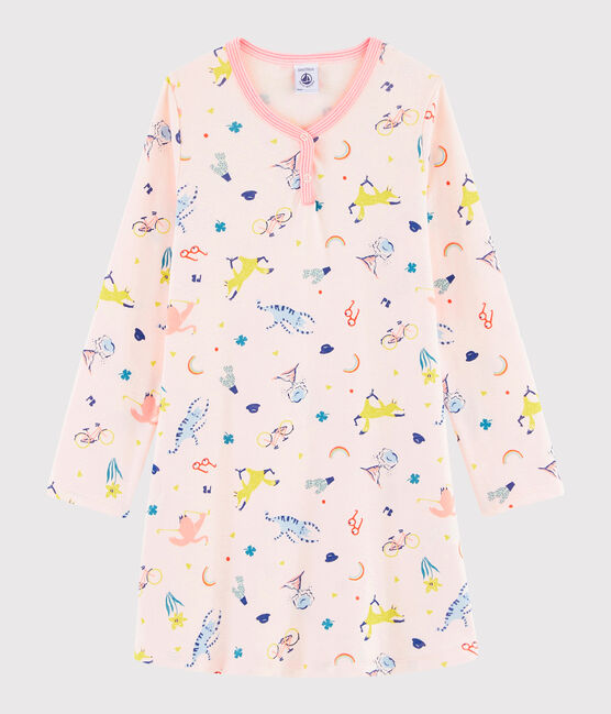 Rippstrick-Nachthemd mit originellem Print für kleine Mädchen rosa Fleur / weiss Multico