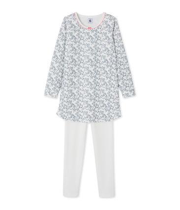 Mädchen-Nachthemd mit Leggings weiss Marshmallow / weiss Multico