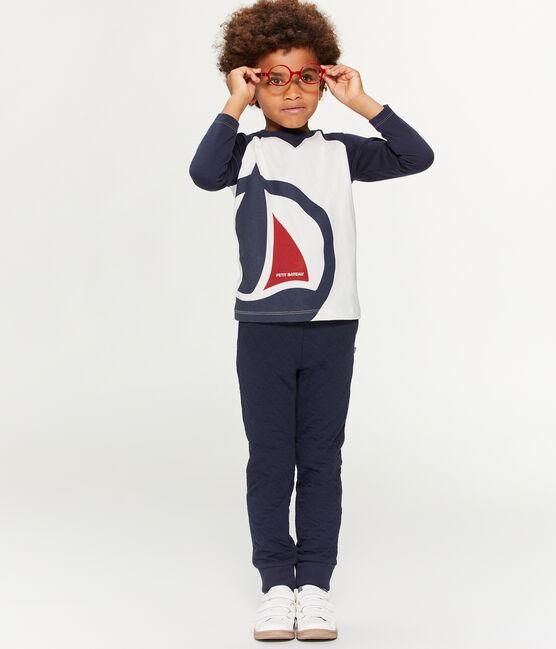 Langärmeliges Kinder-T-Shirt Jungen weiss Marshmallow / blau Smoking