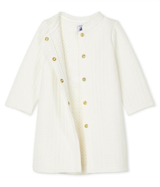 Baby-Mantel aus gestepptem Doppeljersey für Mädchen weiss Marshmallow