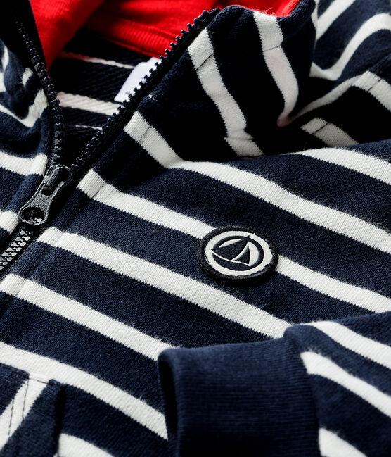 Baby-Kapuzensweatshirt für Jungen blau Smoking / weiss Marshmallow