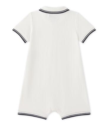 Kurzer Baby-Jungen-Overall aus Jersey-Pikee weiss Marshmallow