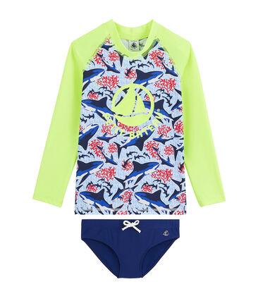 T-Shirt & Unterhose LSF 50+ für Jungen weiss Marshmallow / weiss Multico