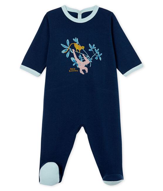 Baby-Strampler aus Rippstrick für Jungen blau Haddock