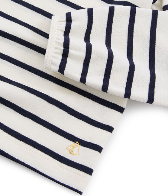 Kinder-T-Shirt Mädchen beige Coquille / blau Smoking