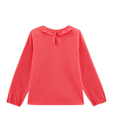 Langärmeliges Kinder-T-Shirt Mädchen rot Signal
