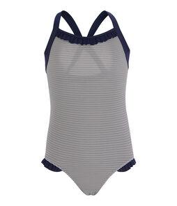Einteiliger Badeanzug für Mädchen blau Abysse / weiss Lait