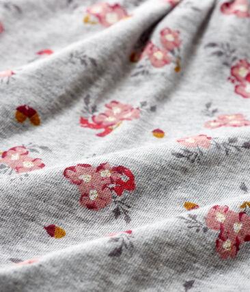 Langärmelige gemusterte Baby-Bluse für Mädchen grau Beluga / weiss Multico