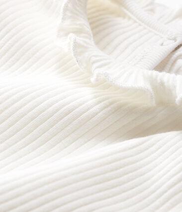 Langärmelige einfarbige Baby-Bluse für Mädchen weiss Marshmallow