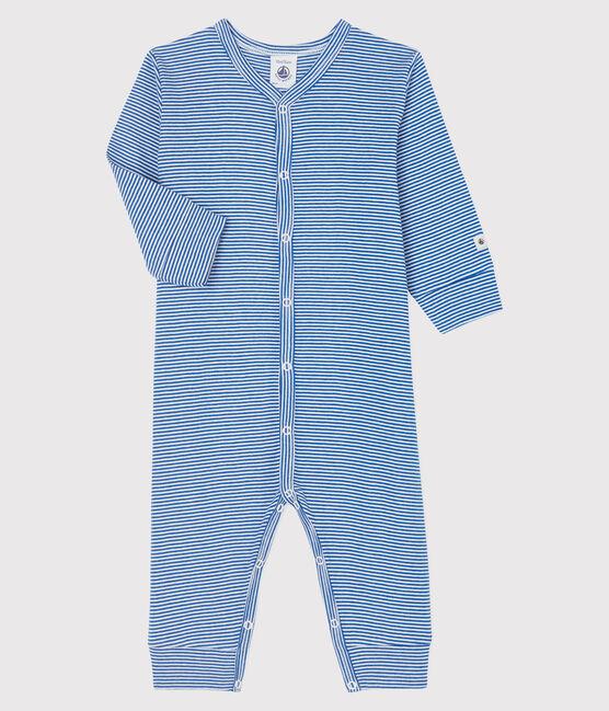 Baby-Strampler ohne Fuß aus Rippstrick mit blauen Streifen blau Pablito / weiss Marshmallow