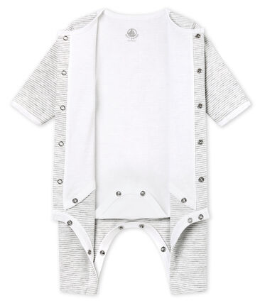 Unisex Baby Strampler mit integriertem Body grau Beluga / weiss Ecume