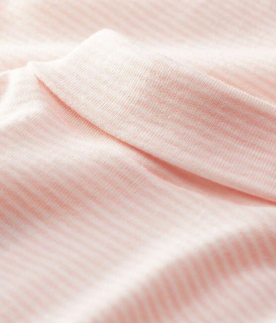 Langärmeliger Baby-Body mit Rollkragen rosa Minois / weiss Marshmallow
