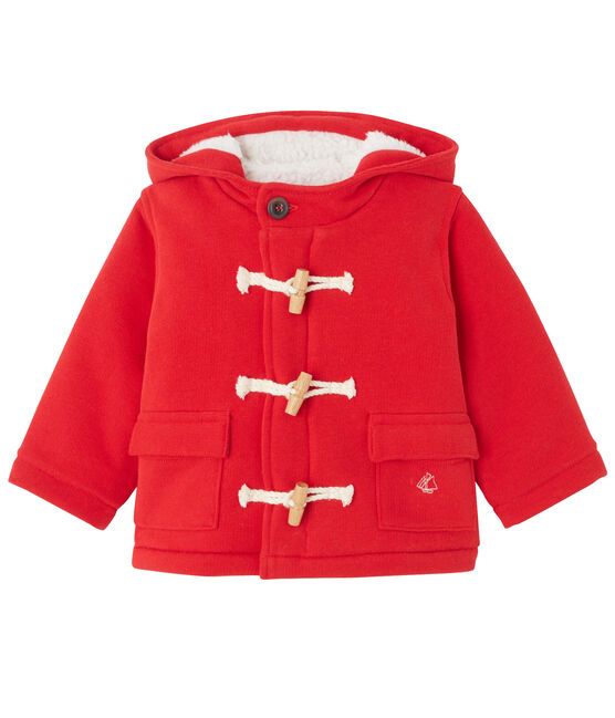 Unisex-Baby-Dufflecoat aus Molton rot Froufrou
