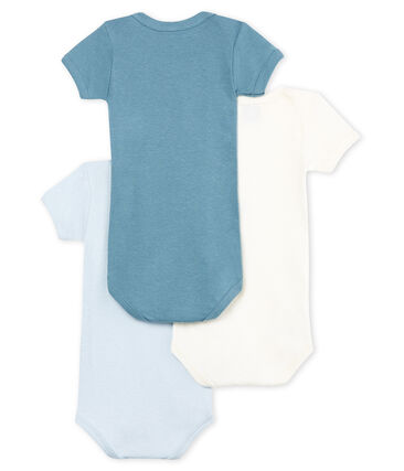 Trio kurzärmelige Baby-Bodys für Jungen aus Baumwolle und Leinen