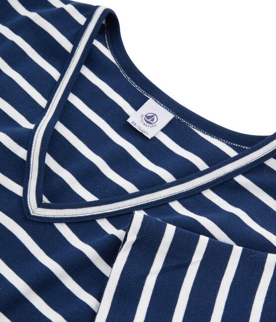 Ikonisches Damen-T-Shirt blau Medieval / weiss Marshmallow