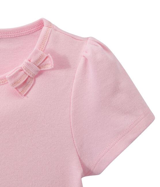Mädchen-T-Shirt mit Schleifenapplikation rosa Babylone