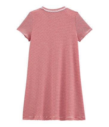 Rippstrick-Nachthemd für kleine Mädchen rot Terkuit / weiss Marshmallow