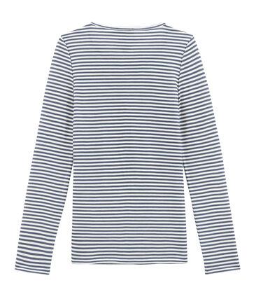 damen-langarmshirt aus woll/baumwollgemisch blau Turquin / weiss Marshmallow