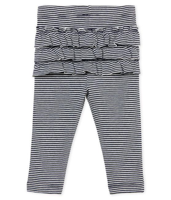 Baby-leggings mit ringelstreifenmuster mädchen blau Smoking / weiss Marshmallow