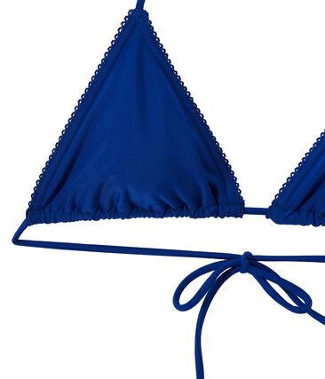 Einfarbiger Damen Bikini blau Perse