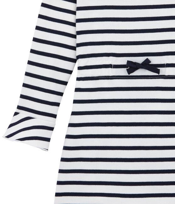Klassisches Mädchen Kleid weiss Marshmallow / blau Smoking